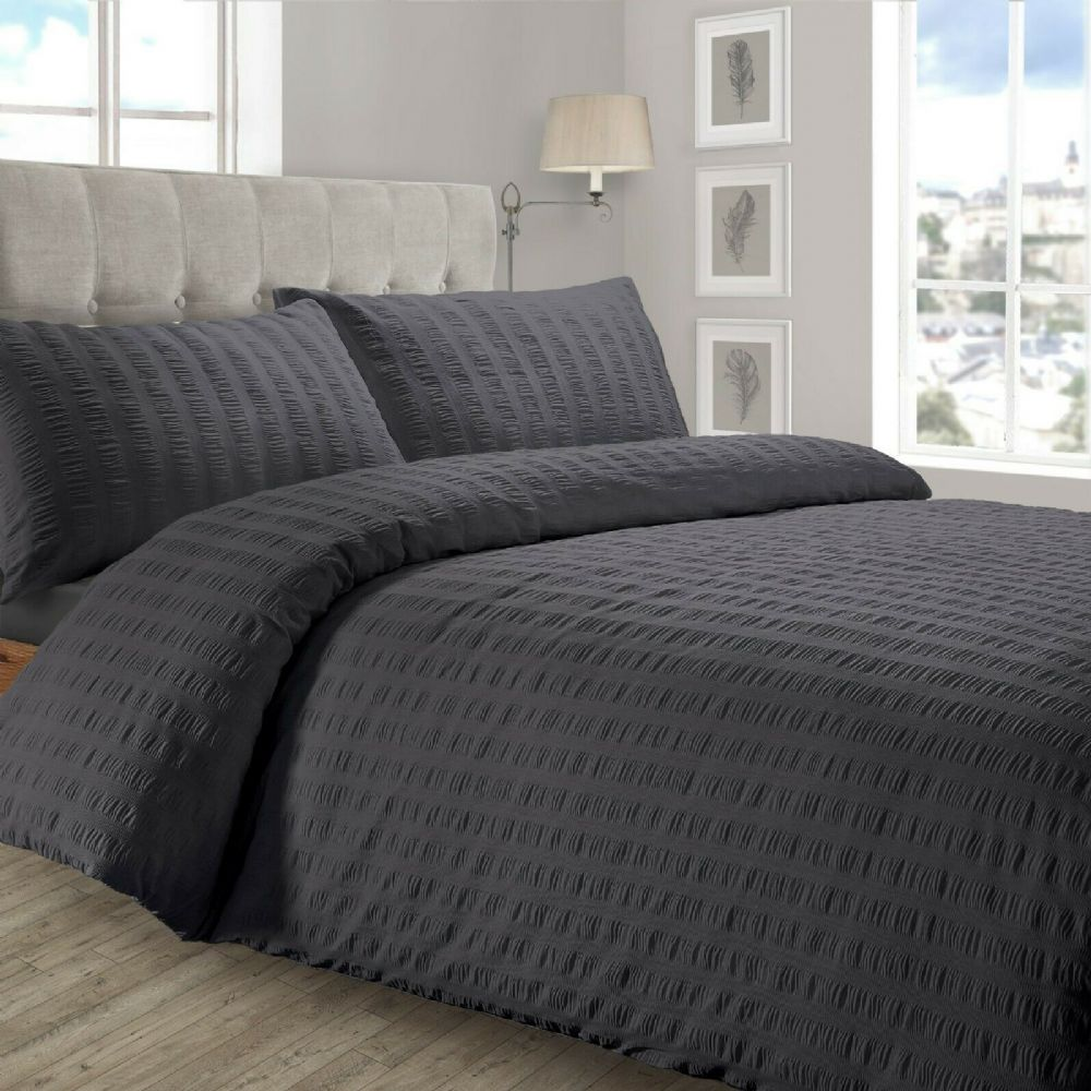 STYLISH RUFFLED LUXURY DUVET COVER SEERSUCKER PLEATED SOFT POLYCOTTON BEDDING CHARCOAL